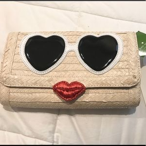Kate Spade heart eyes lips Hello Stranger Clutch